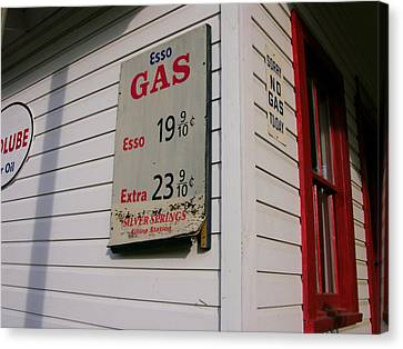 Signs On A Historic Gas Station Offer Canvas Print by Amy White & Al Petteway