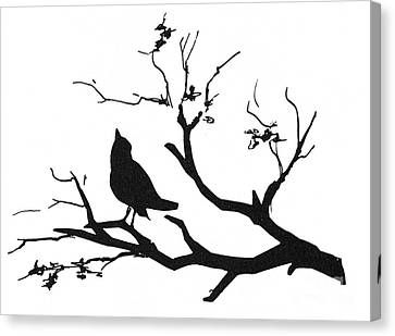 Silhouette: Bird On Branch Canvas Print by Granger