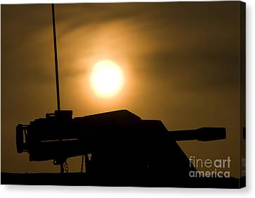 Iraq Canvas Print - Silhouette Of A Mk 19 Automatic Grenade by Terry Moore