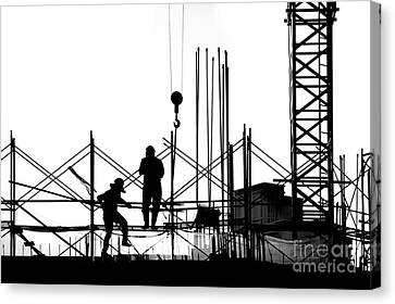 Silhouette Of Construction Site Canvas Print