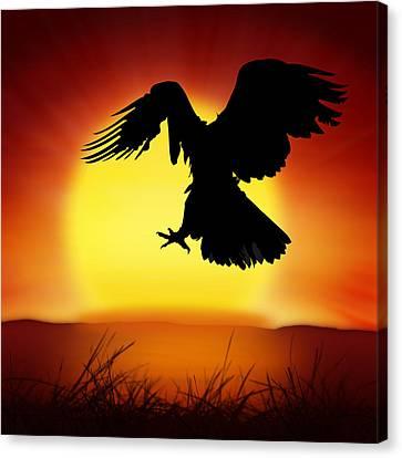 Twilight Views Canvas Print - Silhouette Of Eagle by Setsiri Silapasuwanchai