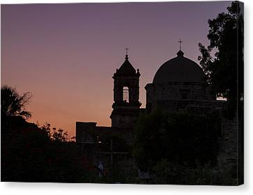 Silhouette Of Mission San Jose Canvas Print by Ellie Teramoto