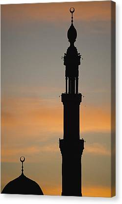 Silhouette Of Mosque At Dawn Canvas Print by Axiom Photographic