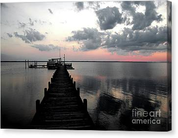 Silhouette On The Sound Canvas Print by Linda Mesibov
