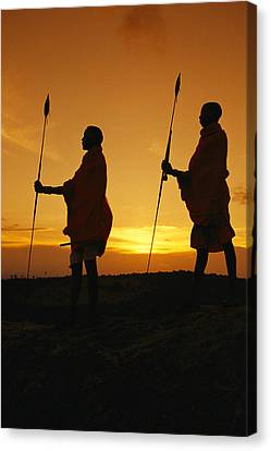 Silhouetted Laikipia Masai Guides Canvas Print by Richard Nowitz