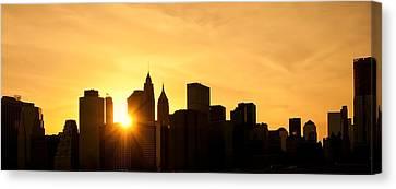 Silhouetted Manhattan  Canvas Print by Svetlana Sewell