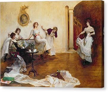 Silks And Satins Canvas Print by Albert Chevallier Tayler
