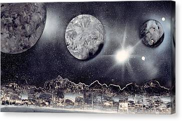 Silver And Black Space City Canvas Print by Marc Chambers