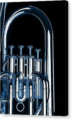 Silver Bass Tuba Euphonium On Black Canvas Print by M K  Miller