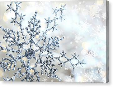 Silver Blue Snowflake  Canvas Print