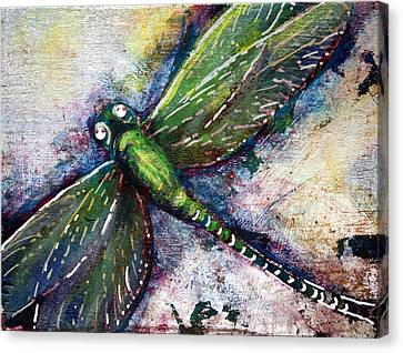 Silver Dragonfly Canvas Print