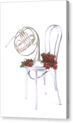 Silver French Horn On Silver Chair Canvas Print by Garry Gay