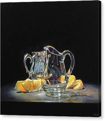 Silver Glass Oranges Canvas Print by Jeffrey Hayes