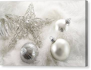 Merry -go- Round Canvas Print - Silver Holiday Ornaments In Feathers by Sandra Cunningham