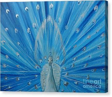Silver Peacock Canvas Print by Julie Brugh Riffey