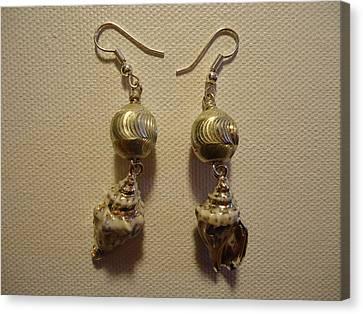 Silver Seashell Dangle Earrings Canvas Print by Jenna Green