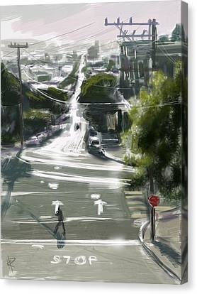 Silver Streets Canvas Print by Russell Pierce