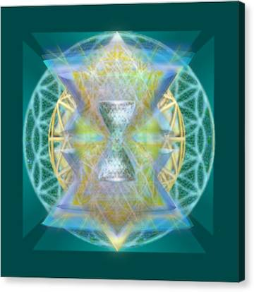 Silver Torquoise Chalice Matrix Subtly Lavender Lit On Gold N Blue N Green With Teal Canvas Print by Christopher Pringer