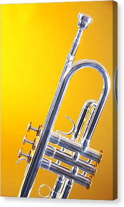 Silver Trumpet Isolated On Yellow Canvas Print by M K  Miller