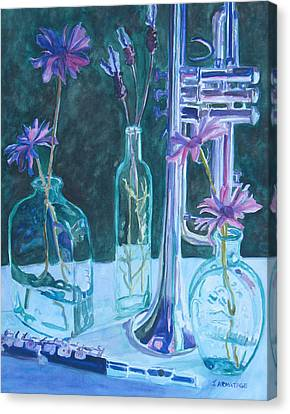 Silvery Night Music Canvas Print by Jenny Armitage