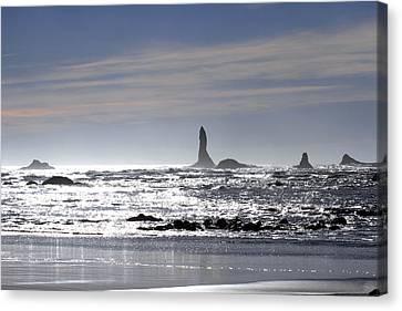 Silvery Ocean At Second Beach Canvas Print