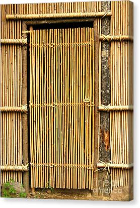 Bamboo House Canvas Print - Simple Bamboo Door by Yali Shi