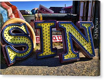 Sin Sign Canvas Print by Garry Gay