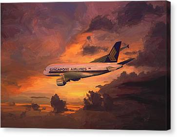 Canvas Print featuring the painting Singapore Airlines A380 by Nop Briex