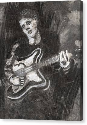 Canvas Print featuring the drawing Singing Sad Songs by Denny Morreale