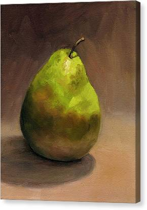 Canvas Print featuring the painting Single Pear No. 1 by Vikki Bouffard