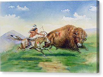 Sioux Hunting Buffalo On Decorated Pony Canvas Print by American School