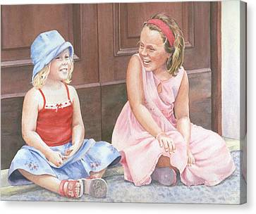 Sisters On Holiday Canvas Print by Maureen Carter