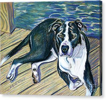 Canvas Print featuring the painting Sittin' On The Dock by D Renee Wilson