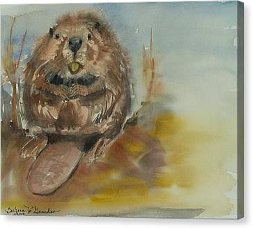 Sitting Beaver Canvas Print