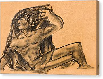 Sitting Human Charcoal Drawing  Canvas Print by Odon Czintos