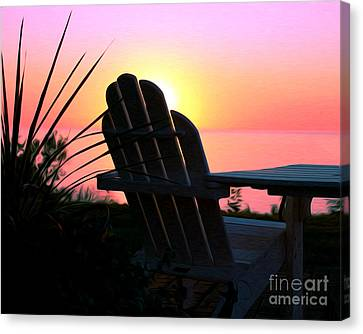Sitting On The Shore Canvas Print by Anne Raczkowski