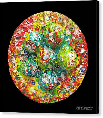 Six  Colorful  Eggs  On  A  Circle Canvas Print by Carl Deaville