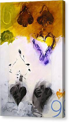 Canvas Print featuring the painting Six Of Spades 15-52 by Cliff Spohn
