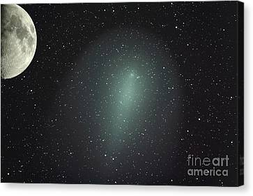 Size Of Comet Holmes In Comparison Canvas Print by Rolf Geissinger