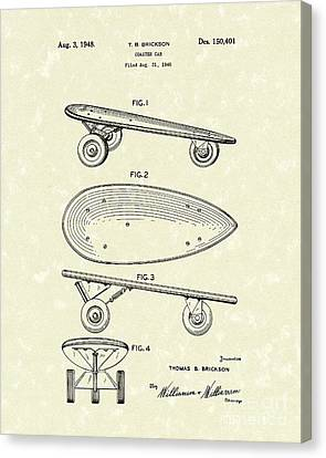 Skateboard Coaster Car 1948 Patent Art  Canvas Print by Prior Art Design