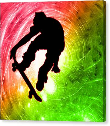 Skateboarder In A Psychedelic Cyclone Canvas Print by Elaine Plesser