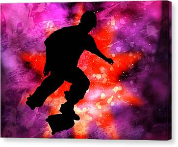 Skateboarder In Cosmic Clouds Canvas Print by Elaine Plesser
