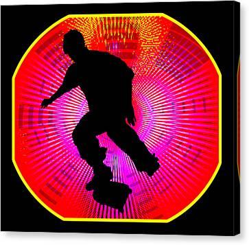 Skateboarding On Fluorescent Starburst Canvas Print