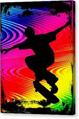 Skateboarding On Rainbow Grunge Background Canvas Print by Elaine Plesser