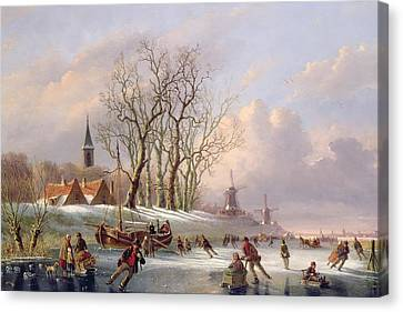 Skaters On A Frozen River Before Windmills Canvas Print by Dutch School