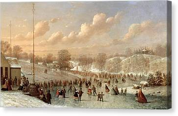 Skating Scene Canvas Print by Johann Mongels Culverhouse