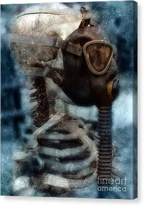 Skeleton In Gas Mask Canvas Print