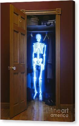 Skeleton In The Closet Canvas Print by Tony Cordoza