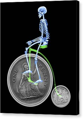 Skeleton On A Penny Farthing Canvas Print by D. Roberts