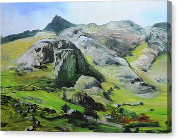 Sketch Of Mountains In Snowdonia Canvas Print